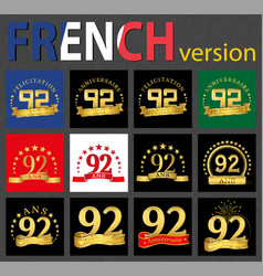french set of number 92 templates vector image