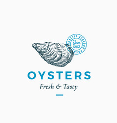 fresh and tasty oysters abstract sign vector image