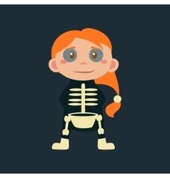 Girl In Skeleton Haloween Disguise vector