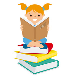 Girl reading over a batch of books vector