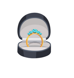 Gold ring with blue diamonds in box vector