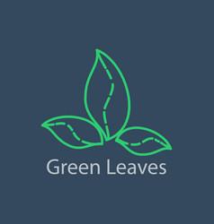green leaves outline logo linear vector image