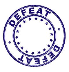 Grunge textured defeat round stamp seal vector