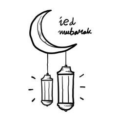 Hand drawn eid mubarak greeting with moon vector