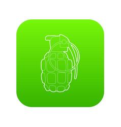 hand grenade icon green vector image
