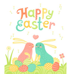 Happy easter festive postcard with rabbits painted vector