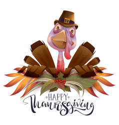happy thanksgiving text greeting card bird turkey vector image