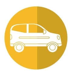 Hatchback car vehicle side view yellow circle vector