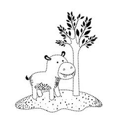 Hippopotamus cartoon next to the tree in black vector