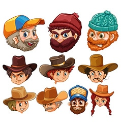 Human head wearing hats vector image