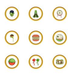 icons set cartoon style vector image