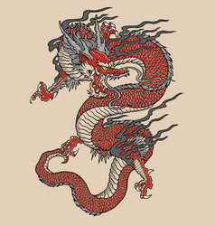 Japanese red dragon tattoo vector