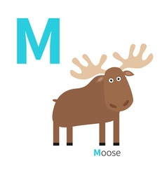 Letter m moose zoo alphabet english abc vector