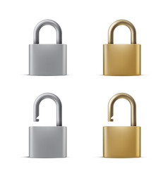 Locked and opened padlocks realistic vector