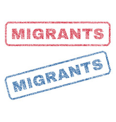 Migrants textile stamps vector