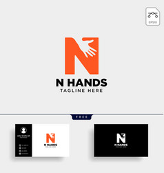 Minimal n letter initial hand logo template icon vector