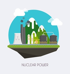 Nuclear power Landscape and industrial factory vector