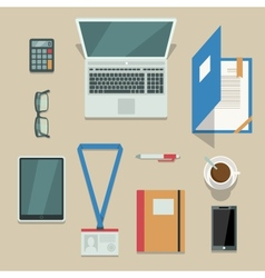 Office workplace with mobile devices and documents vector image