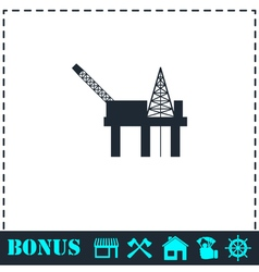 Oil platform icon flat vector