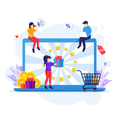 Online reward concept people receives a gift box vector