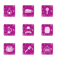 Open shop icons set grunge style vector