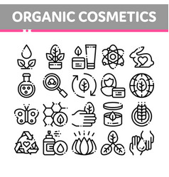 Organic cosmetics thin line icons set vector