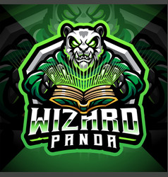 Panda wizard esport mascot logo vector