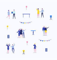 party - flat design style set of isolated elements vector image