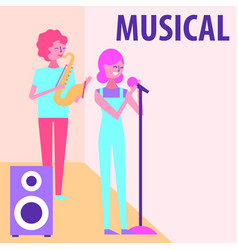 people musical celebration vector image