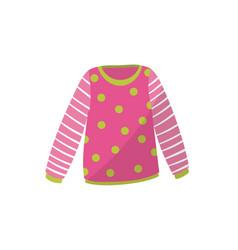 Pink baby sweater in green polka-dot cute warm vector