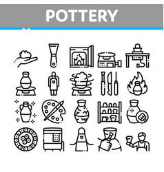 Pottery and ceramics collection icons set vector