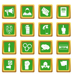 Protest icons set green vector