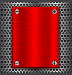 red metal brushed plate with screws on perforated vector image