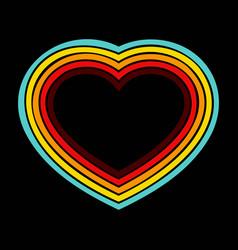 retro heart lines background vector image
