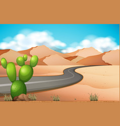 Road trip in the desert vector