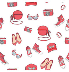 Seamless pattern with the summer clothes vector