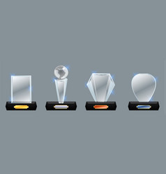 Set glass trophy award award vector