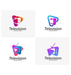 Set media tv creative logo concepts play vector