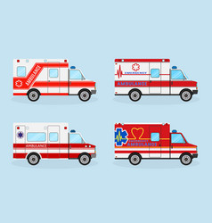 set of four emergency ambulance cars with red vector image