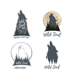 Set of four wolf howling on the moon in the forest vector