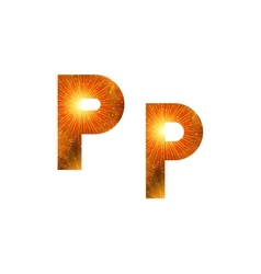 Set of letters firework P vector image