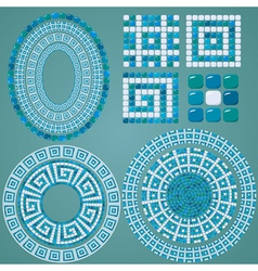 Set of Mosaic patterns - Blue ceramic oval and rou vector