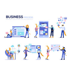 set of office concept data analysis management vector image