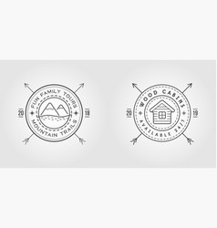 set vintage logo with wooden cabin moutains vector image