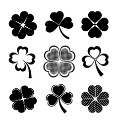 shamrock and four leaf clover vector image