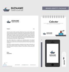 ship business letterhead calendar 2019 and mobile vector image