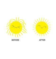 Sleepy wake up sun shining icon set before after vector