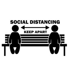 Social distancing keep apart stick figure on vector