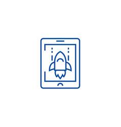 space rocket computer game line icon concept vector image