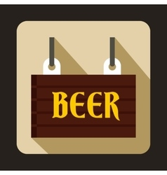 Street signboard of beer icon flat style vector image
